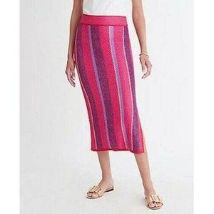 NWT Ann Taylor Hot Pink Striped Knit Tube Skirt